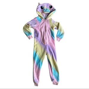 Girls rainbow fuzzy horse onesie size 4t-5t